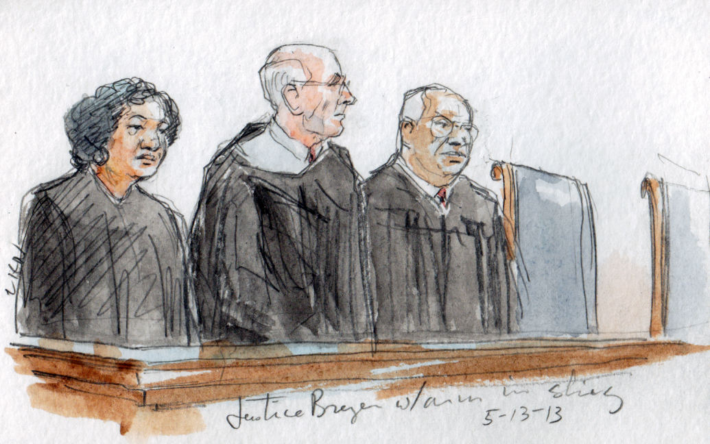 Justice Breyer with arm in a sling