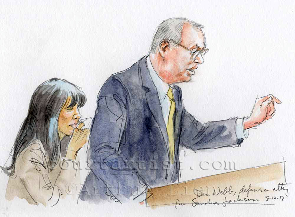 Sketch: Sandra Jackson and lawyer