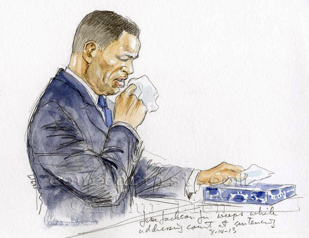 Sketch: Jesse Jackson Jr weeps