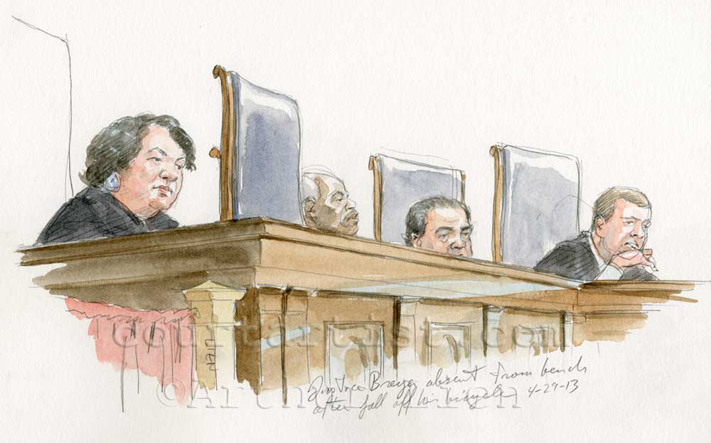 Sketch of SCOTUS bench with Justice Breyer absent