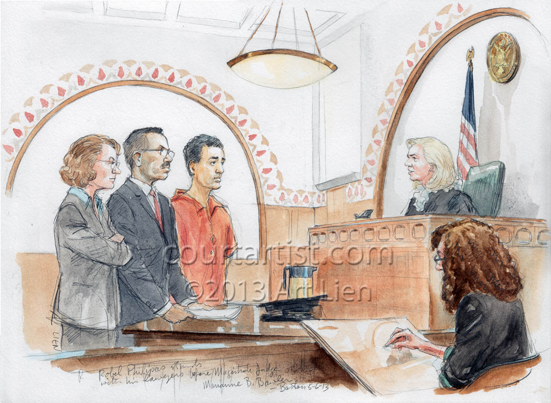 Sketch of Boston marathon bomber's friend, Robel Philipos, in court