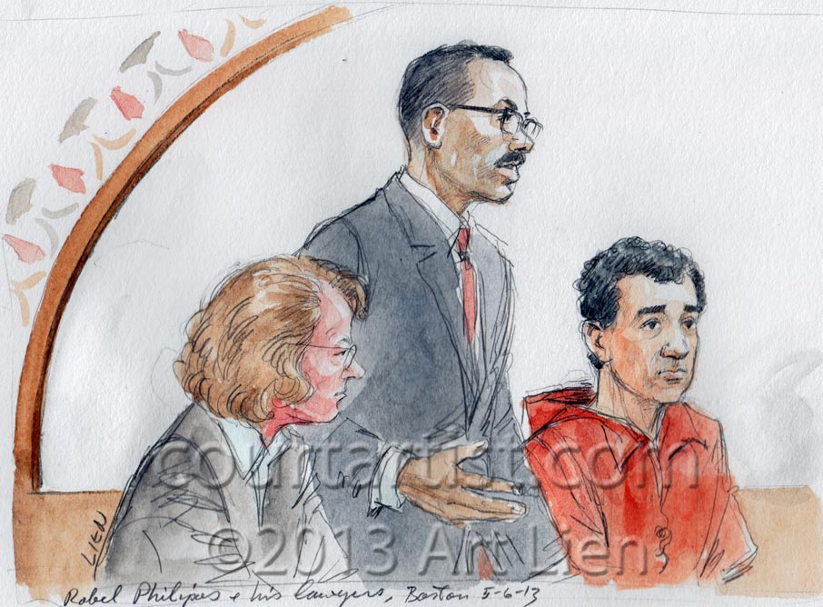 Tsarnaev's friend, Robel Philipos. with defense lawyers