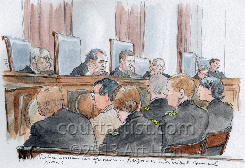 Sketch: Justice Scalia announces opinion in voting rights case