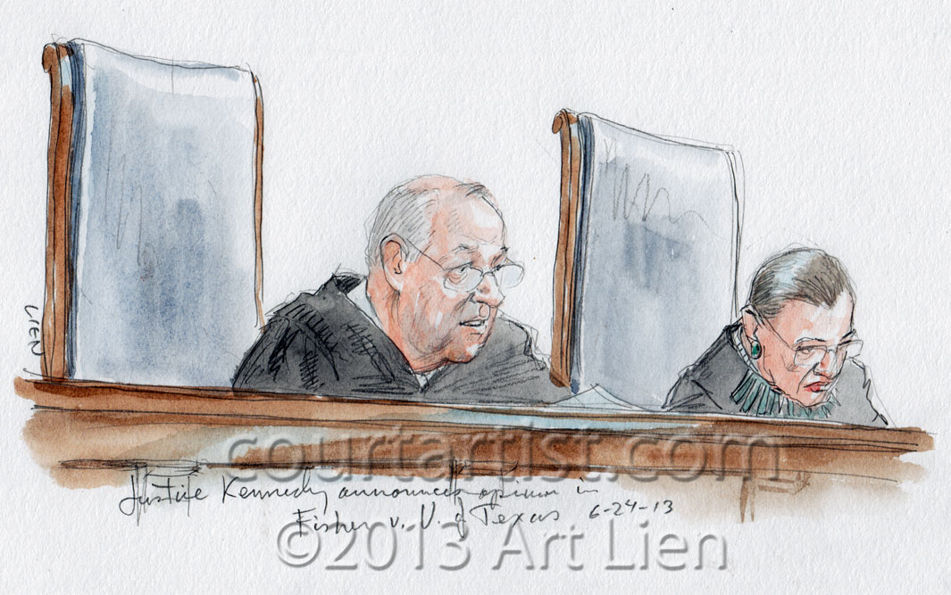 Sketch: Kennedy announces opinion of the Court in Fisher v. U of Texas
