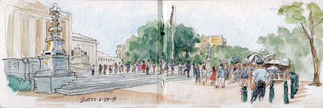Sketch of line outside Supreme Court