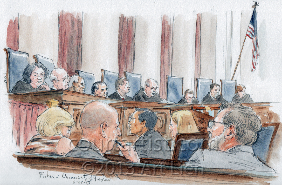 Sketch:Justice Kennedy announces opinion in affirmative action case