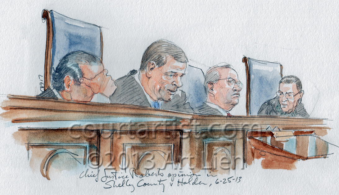 Sketch: Chief Justice Roberts' opinion in Voting Rights Act, Section 5