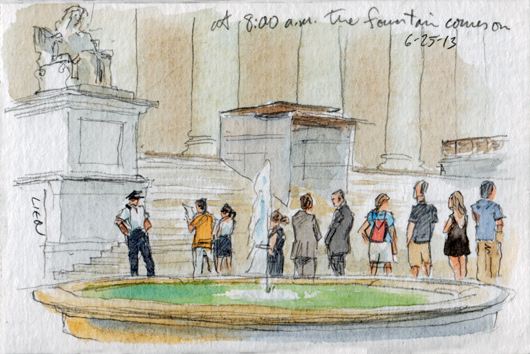 Sketch: line by the Supreme Court fountain