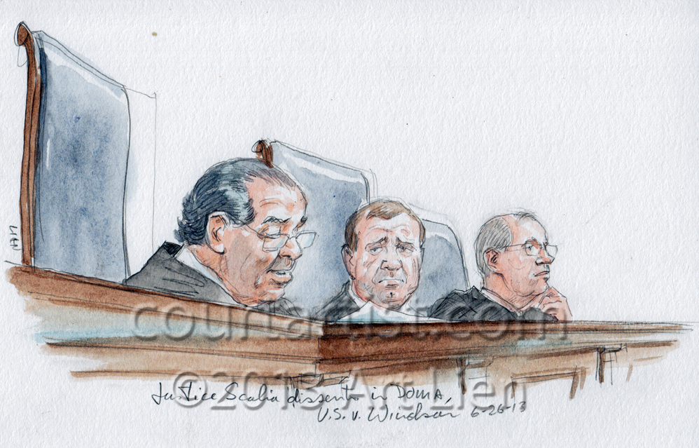 Sketch: Justice Scalia dissents in DOMA case
