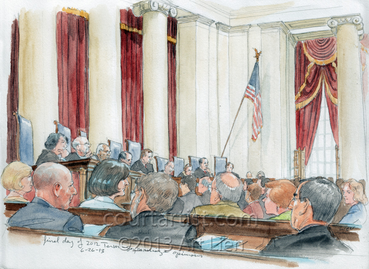 Sketch: courtroom on last opinion day of the 2012 term