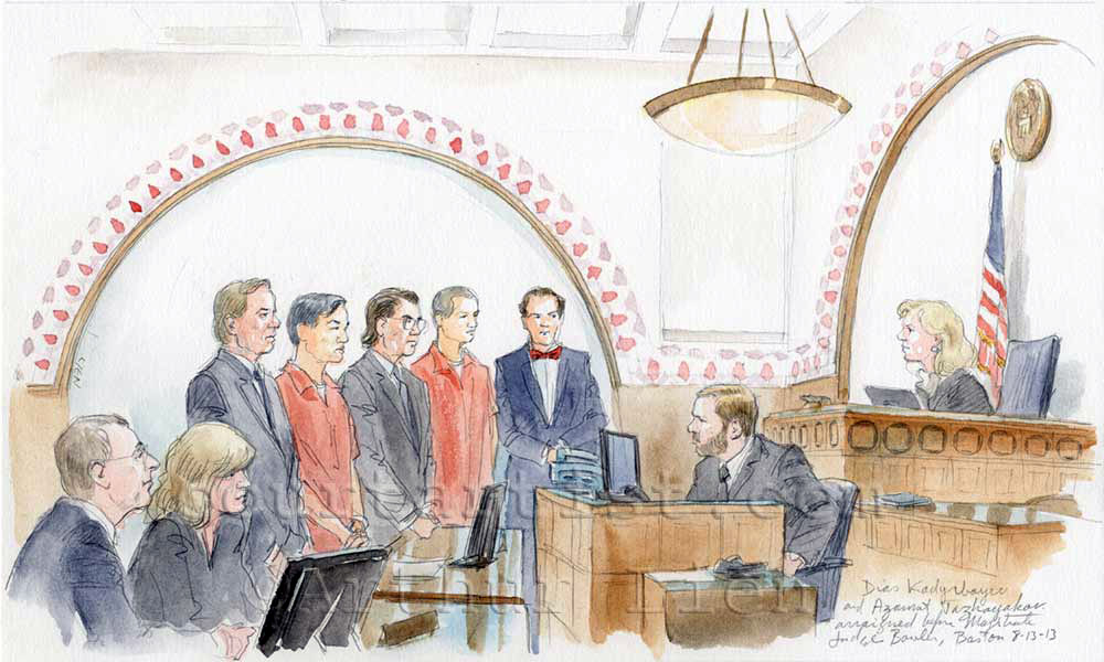 Sketch: friends of Boston marathon bomber arraigned