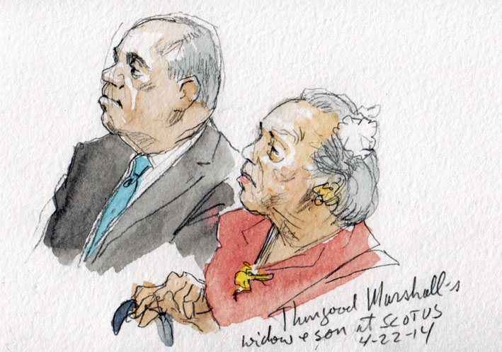 SCOTUS Sketch: Justice Marshall's widow and son