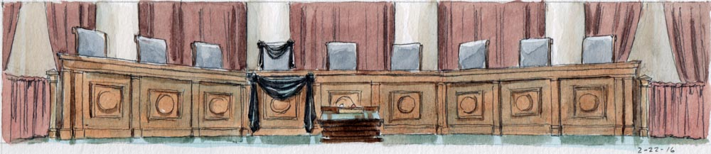 Black crepe bunting on bench and Scalia's chair